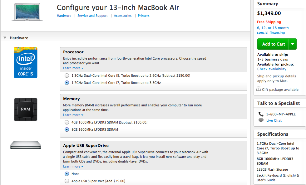 The 13-inch MacBook Air configuration one should get